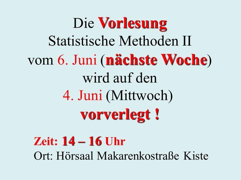 Vorlesung Die Vorlesung Statistische Methoden II nächste Woche vom 6.