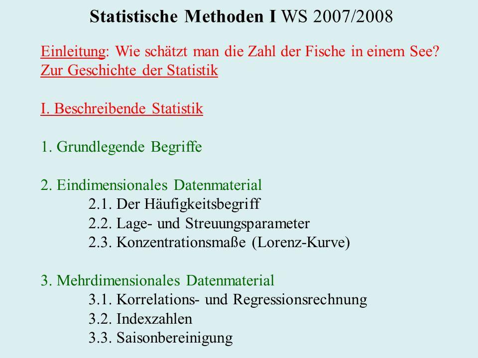 Statistische Methoden I WS 2007/2008 Einleitung: Wie schätzt man die Zahl der Fische in einem See? Zur Geschichte der Statistik I. Beschreibende Stati