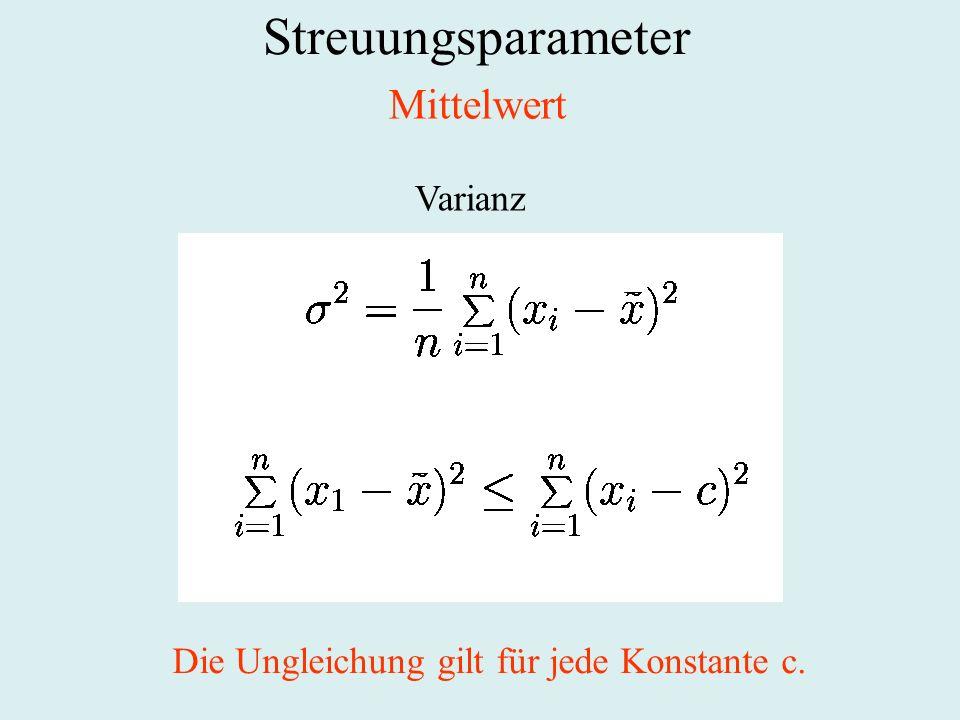 Streuungsparameter Mittelwert Varianz Die Ungleichung gilt für jede Konstante c.
