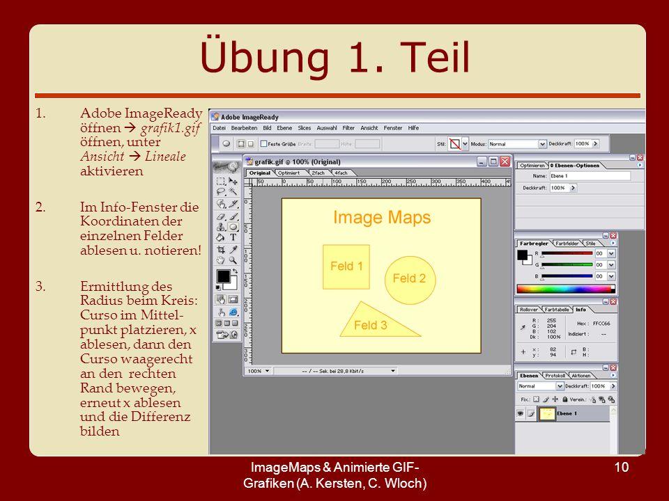 ImageMaps & Animierte GIF- Grafiken (A. Kersten, C. Wloch) 10 Übung 1. Teil 1.Adobe ImageReady öffnen grafik1.gif öffnen, unter Ansicht Lineale aktivi