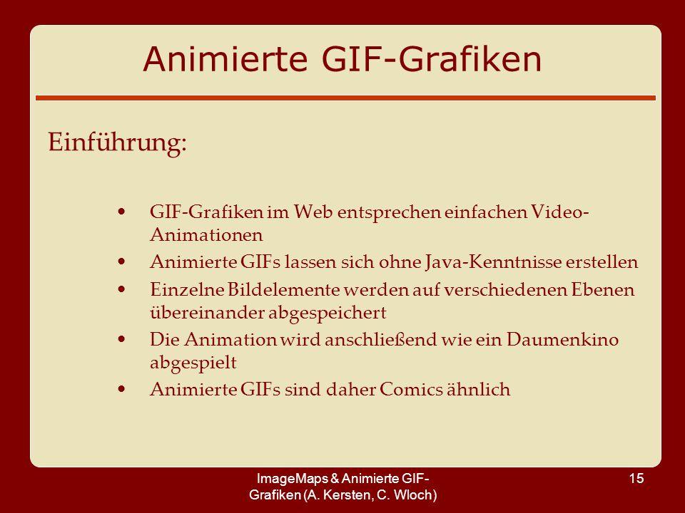 ImageMaps & Animierte GIF- Grafiken (A. Kersten, C. Wloch) 15 Animierte GIF-Grafiken Einführung: GIF-Grafiken im Web entsprechen einfachen Video- Anim
