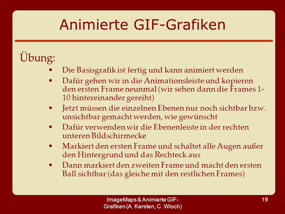 ImageMaps & Animierte GIF- Grafiken (A. Kersten, C. Wloch) 19 Animierte GIF-Grafiken Übung: Die Basisgrafik ist fertig und kann animiert werden Dafür