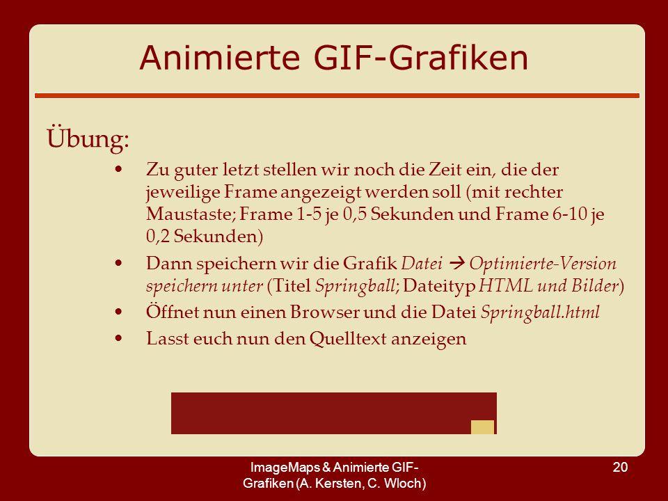 ImageMaps & Animierte GIF- Grafiken (A. Kersten, C. Wloch) 20 Animierte GIF-Grafiken Übung: Zu guter letzt stellen wir noch die Zeit ein, die der jewe