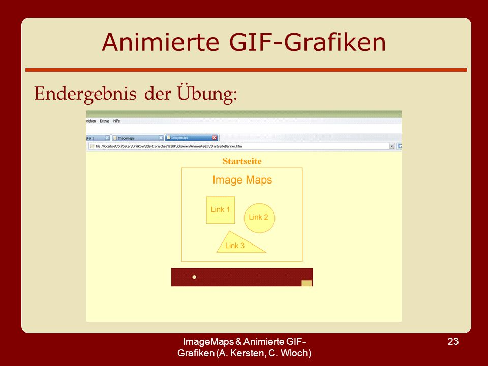 ImageMaps & Animierte GIF- Grafiken (A. Kersten, C. Wloch) 23 Animierte GIF-Grafiken Endergebnis der Übung: