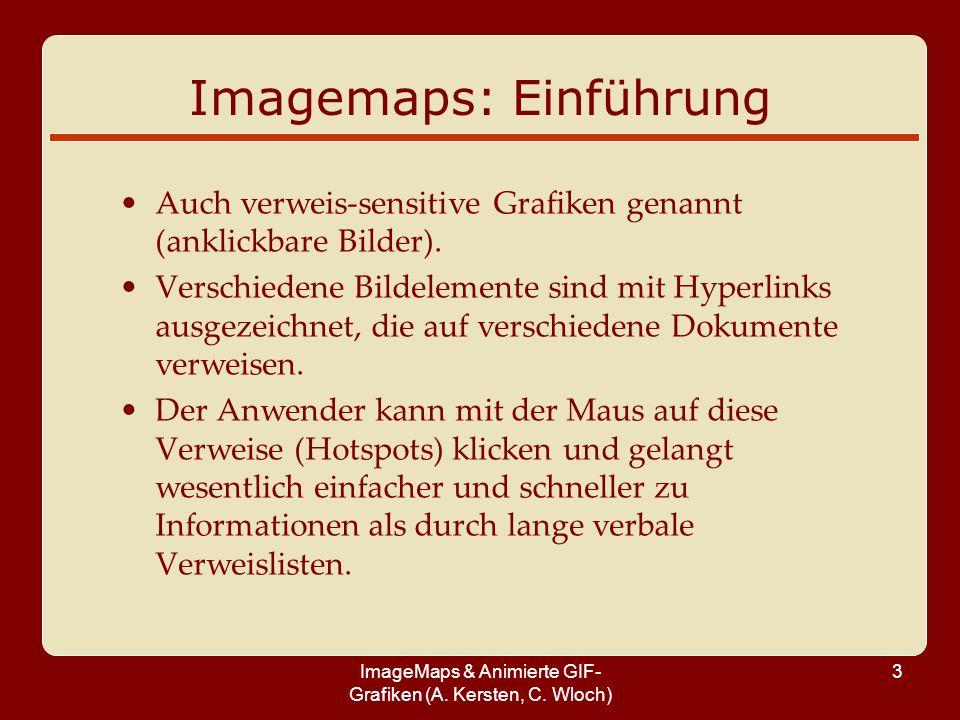 ImageMaps & Animierte GIF- Grafiken (A. Kersten, C. Wloch) 3 Imagemaps: Einführung Auch verweis-sensitive Grafiken genannt (anklickbare Bilder). Versc