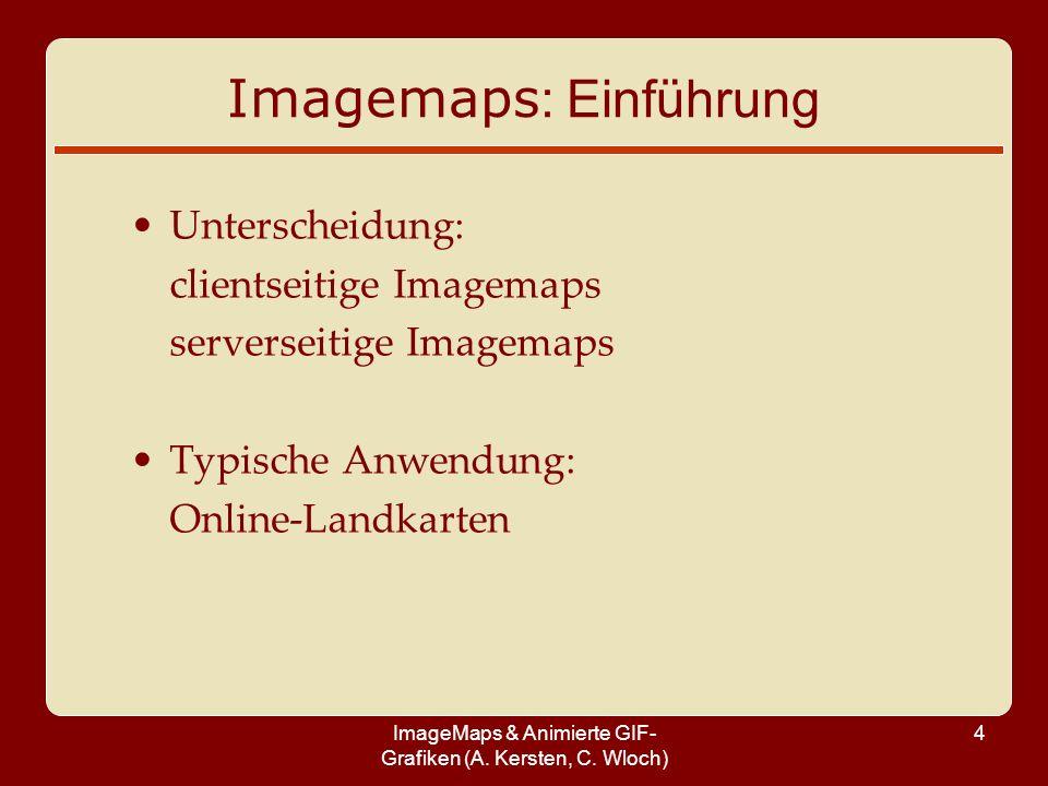 ImageMaps & Animierte GIF- Grafiken (A. Kersten, C. Wloch) 4 Unterscheidung: clientseitige Imagemaps serverseitige Imagemaps Typische Anwendung: Onlin