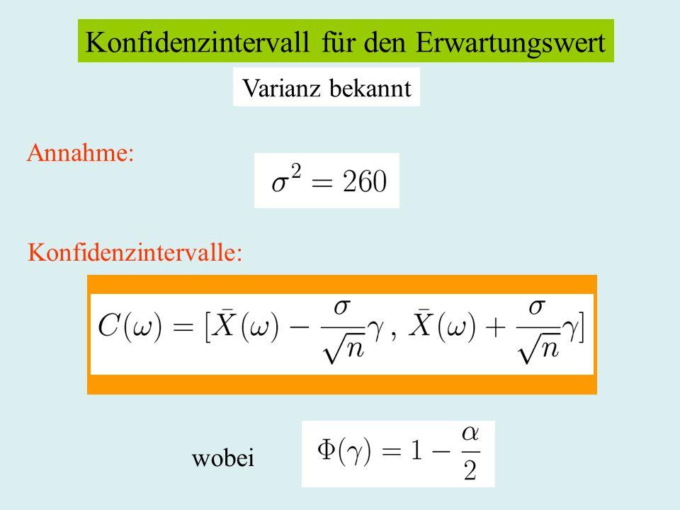In unserem Beispiel: Bei einem Niveau von = 0.05 ist 1 - /2 = 0.975. Es ergibt sich: und