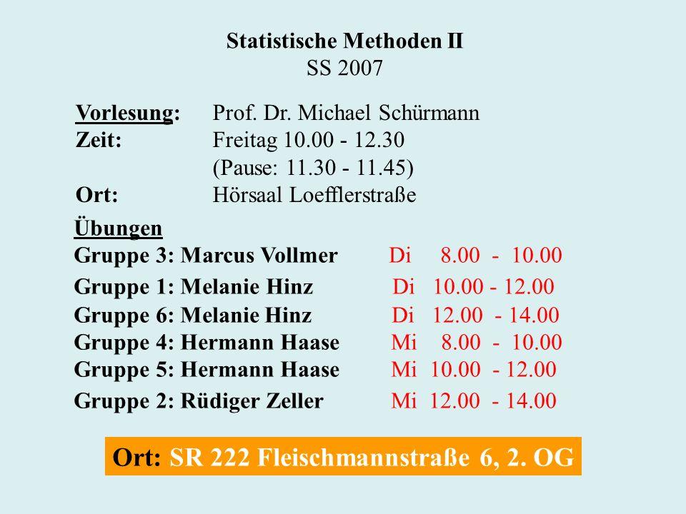 Statistische Methoden II SS 2007 Vorlesung:Prof. Dr. Michael Schürmann Zeit:Freitag 10.00 - 12.30 (Pause: 11.30 - 11.45) Ort:Hörsaal Loefflerstraße Üb