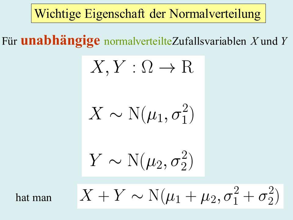 Wichtige Eigenschaft der Normalverteilung Für unabhängige normalverteilteZufallsvariablen X und Y hat man