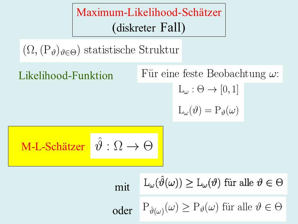 Maximum-Likelihood-Schätzer ( diskreter Fall) Likelihood-Funktion mit oder M-L-Schätzer