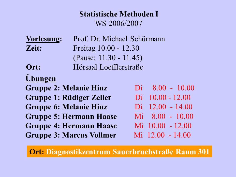 Statistische Methoden I WS 2006/2007 Vorlesung:Prof.