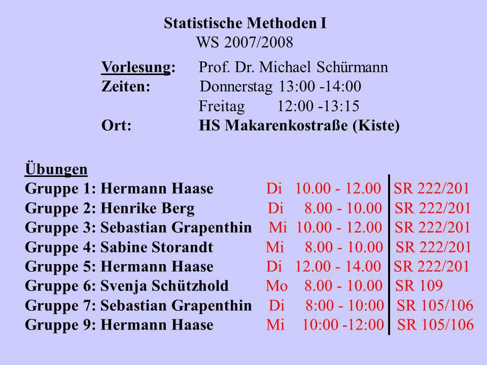 Statistische Methoden I WS 2007/2008 Vorlesung:Prof. Dr. Michael Schürmann Zeiten: Donnerstag 13:00 -14:00 Freitag 12:00 -13:15 Ort:HS Makarenkostraße