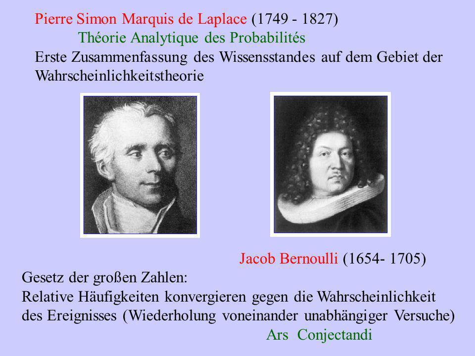 Pierre Simon Marquis de Laplace (1749 - 1827) Théorie Analytique des Probabilités Erste Zusammenfassung des Wissensstandes auf dem Gebiet der Wahrsche