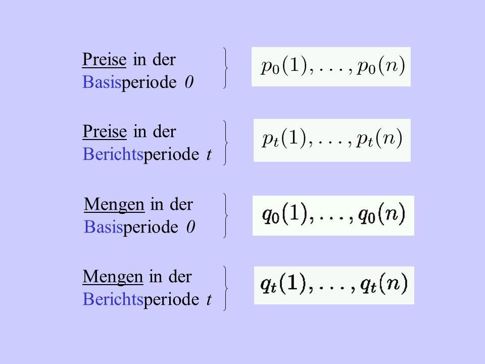 Preise in der Basisperiode 0 Preise in der Berichtsperiode t Mengen in der Basisperiode 0 Mengen in der Berichtsperiode t