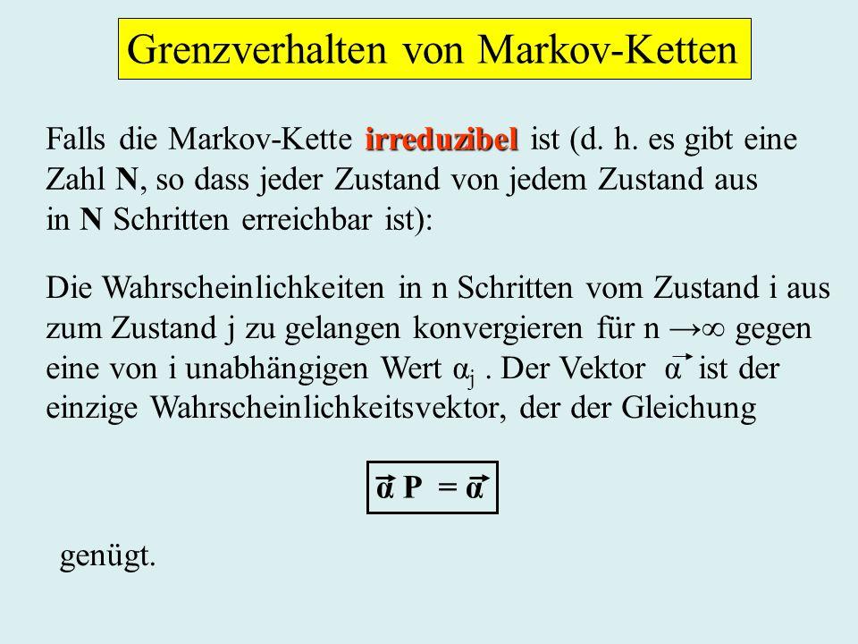 Grenzverhalten von Markov-Ketten irreduzibel Falls die Markov-Kette irreduzibel ist (d.