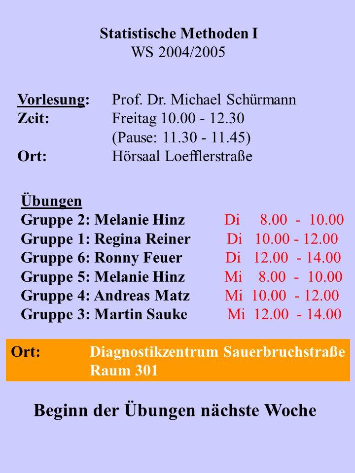 Statistische Methoden I WS 2004/2005 Vorlesung:Prof. Dr. Michael Schürmann Zeit:Freitag 10.00 - 12.30 (Pause: 11.30 - 11.45) Ort:Hörsaal Loefflerstraß