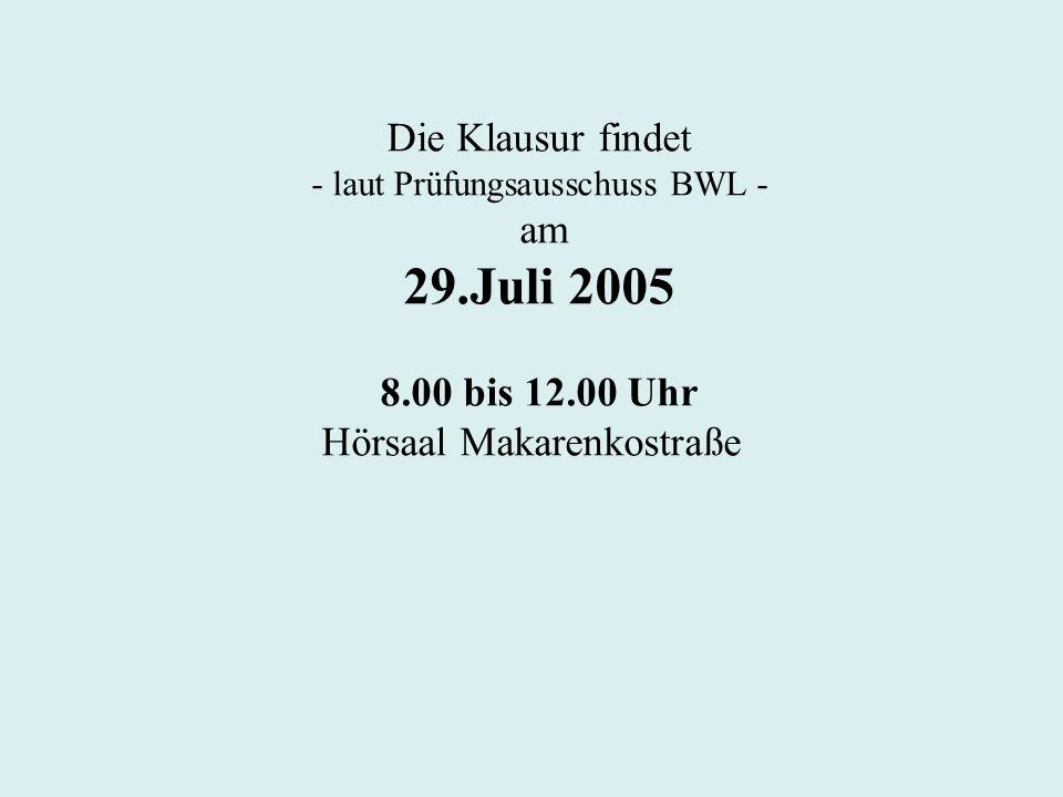 Die Klausur findet - laut Prüfungsausschuss BWL - am 29.Juli 2005 8.00 bis 12.00 Uhr Hörsaal Makarenkostraße