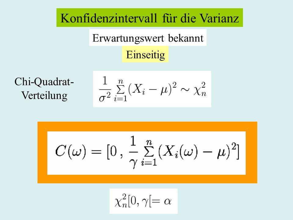 Konfidenzintervall für die Varianz Erwartungswert bekannt Einseitig Chi-Quadrat- Verteilung
