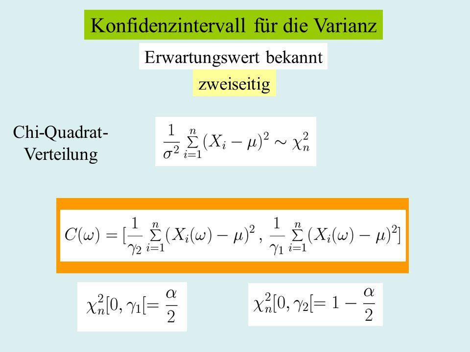 Konfidenzintervall für die Varianz Erwartungswert bekannt zweiseitig Chi-Quadrat- Verteilung