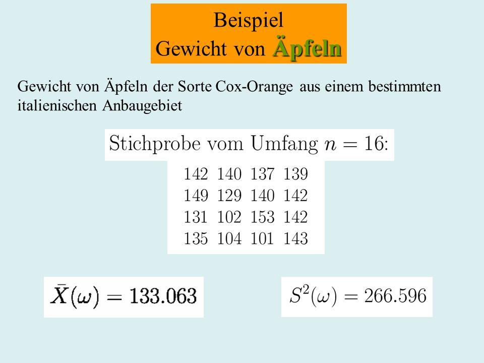 Beispiel Äpfeln Gewicht von Äpfeln Gewicht von Äpfeln der Sorte Cox-Orange aus einem bestimmten italienischen Anbaugebiet