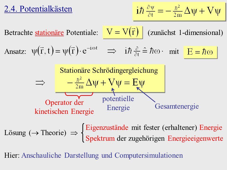 2.4. Potentialkästen Betrachte stationäre Potentiale: (zunächst 1-dimensional) Ansatz: mit Stationäre Schrödingergleichung Gesamtenergie potentielle E