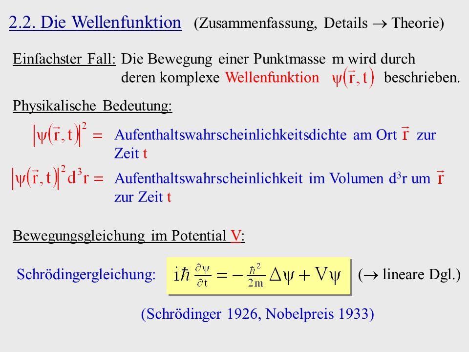 2.2. Die Wellenfunktion (Zusammenfassung, Details Theorie) Einfachster Fall:Die Bewegung einer Punktmasse m wird durch deren komplexe Wellenfunktion b