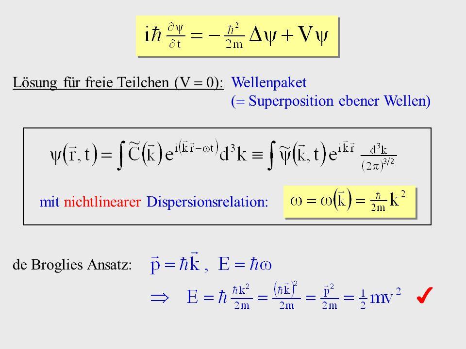 x E 0 V0V0 a) : klassisch R, T Reflexions-, Transmissionskoeffizienten für Aufenthaltswahrscheinlichkeiten x quantenmechanisch x Überlagerung: einlaufend reflektiert verbotene Zone: exponentielle Dämpfung