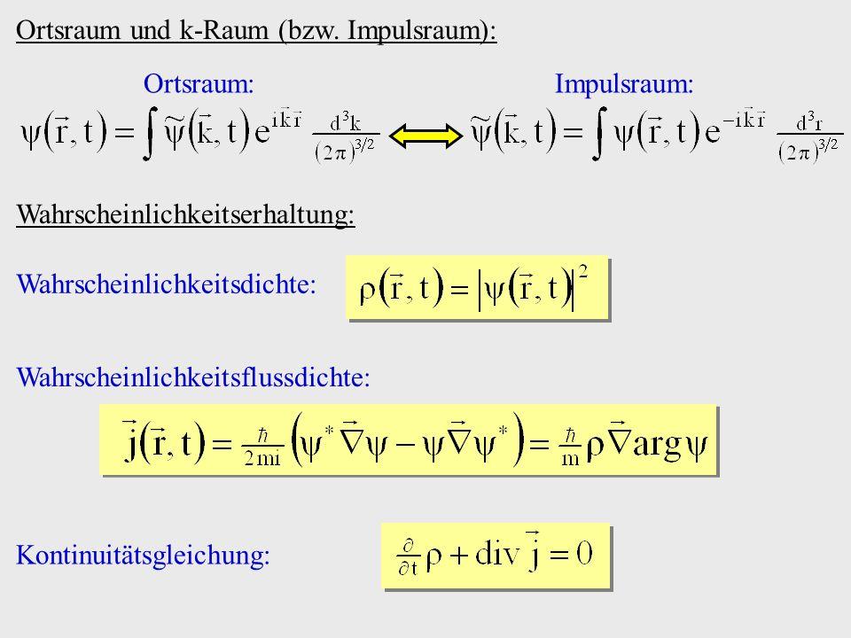 Ortsraum und k-Raum (bzw. Impulsraum): Ortsraum:Impulsraum: Wahrscheinlichkeitserhaltung: Wahrscheinlichkeitsdichte: Wahrscheinlichkeitsflussdichte: K