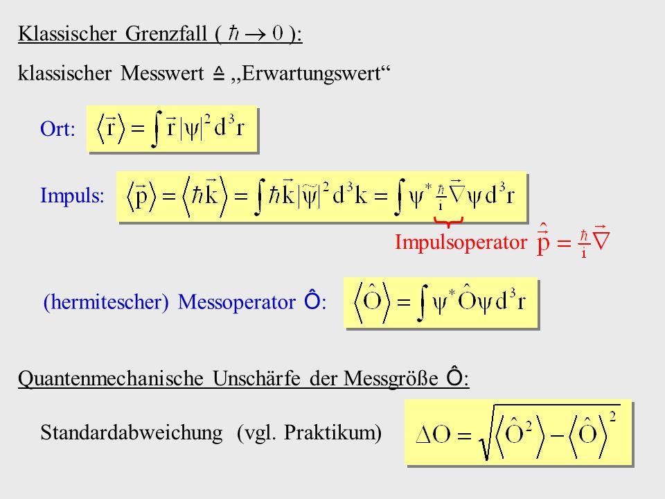 Klassischer Grenzfall ( ): klassischer Messwert,,Erwartungswert Ort: Impuls: Impulsoperator (hermitescher) Messoperator Ô : Quantenmechanische Unschär