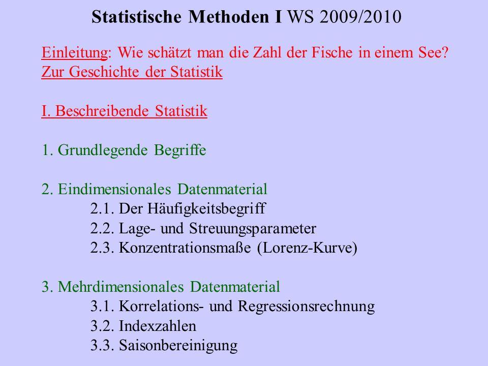 Statistische Methoden I WS 2009/2010 Einleitung: Wie schätzt man die Zahl der Fische in einem See? Zur Geschichte der Statistik I. Beschreibende Stati