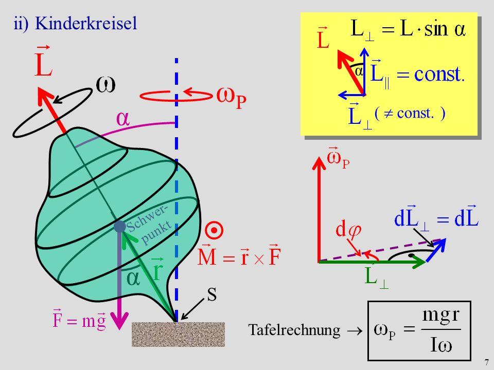 7 α α ii) Kinderkreisel Schwer- punkt ωPωP α ( const. ) Tafelrechnung S