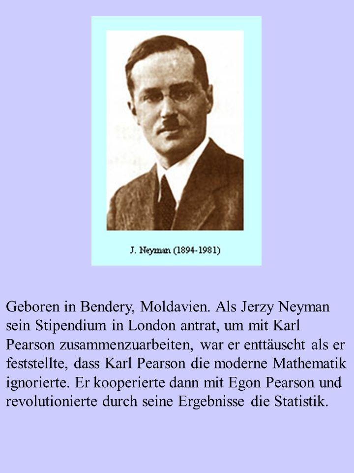 Geboren in Bendery, Moldavien. Als Jerzy Neyman sein Stipendium in London antrat, um mit Karl Pearson zusammenzuarbeiten, war er enttäuscht als er fes
