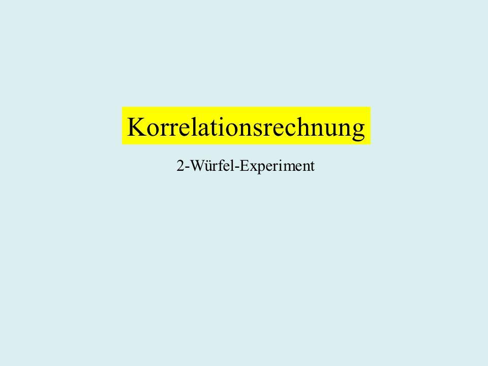 Korrelationsrechnung 2-Würfel-Experiment