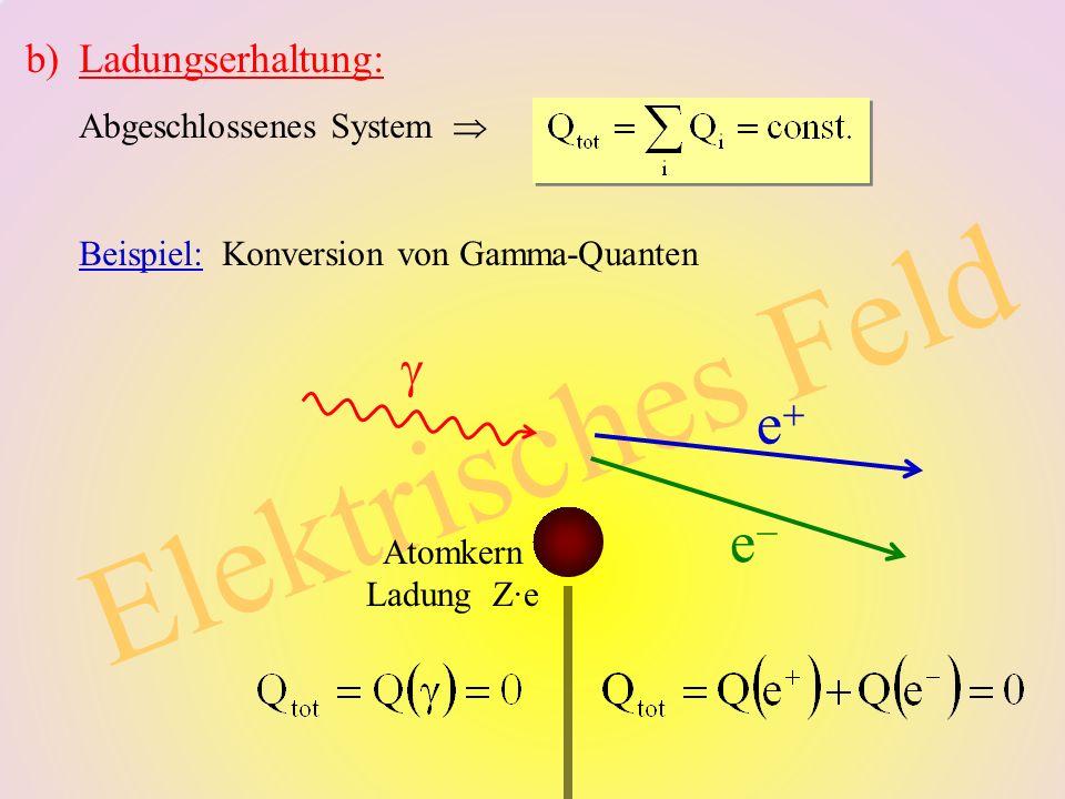 3 Elektrisches Feld b)Ladungserhaltung: Abgeschlossenes System Beispiel: Konversion von Gamma-Quanten e e Atomkern Ladung Z·e