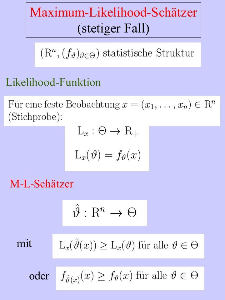 Maximum-Likelihood-Schätzer (stetiger Fall) Likelihood-Funktion M-L-Schätzer mit oder