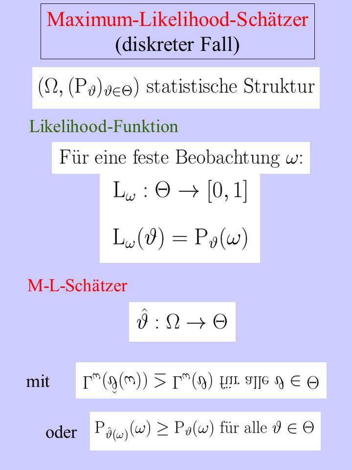 Maximum-Likelihood-Schätzer (diskreter Fall) Likelihood-Funktion M-L-Schätzer mit oder