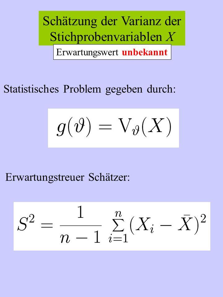 Schätzung der Varianz der Stichprobenvariablen X Statistisches Problem gegeben durch: Erwartungstreuer Schätzer: Erwartungswert unbekannt