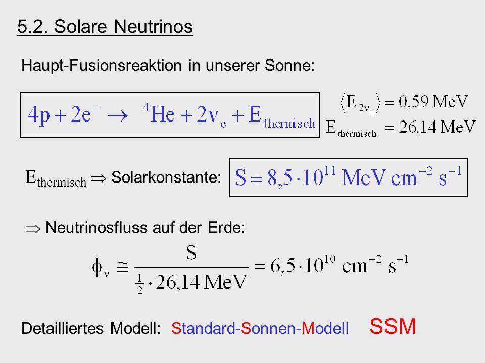 Haupt-Fusionsreaktion in unserer Sonne: E thermisch Solarkonstante: Neutrinosfluss auf der Erde: Detailliertes Modell: Standard-Sonnen-Modell SSM 5.2.