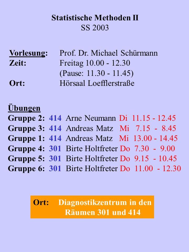 Statistische Methoden II SS 2003 Vorlesung:Prof. Dr. Michael Schürmann Zeit:Freitag 10.00 - 12.30 (Pause: 11.30 - 11.45) Ort:Hörsaal Loefflerstraße Üb
