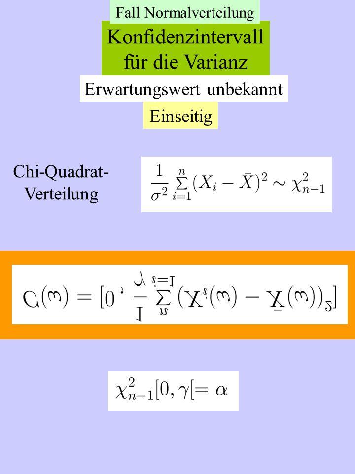 Konfidenzintervall für die Varianz Erwartungswert unbekannt Einseitig Chi-Quadrat- Verteilung Fall Normalverteilung
