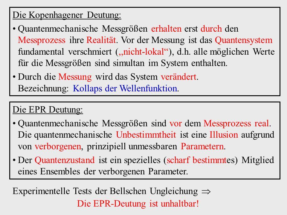 Die Kopenhagener Deutung: Quantenmechanische Messgrößen erhalten erst durch den Messprozess ihre Realität. Vor der Messung ist das Quantensystem funda