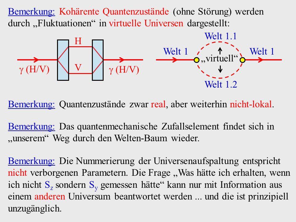 Bemerkung: Kohärente Quantenzustände (ohne Störung) werden durch Fluktuationen in virtuelle Universen dargestellt: H V (H/V) Welt 1 Welt 1.1 Welt 1.2
