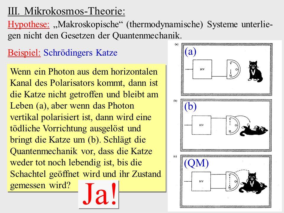 III. Mikrokosmos-Theorie: Hypothese: Makroskopische (thermodynamische) Systeme unterlie- gen nicht den Gesetzen der Quantenmechanik. Beispiel: Schrödi