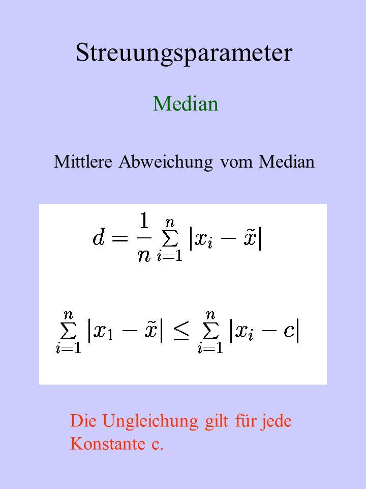 Streuungsparameter Median Mittlere Abweichung vom Median Die Ungleichung gilt für jede Konstante c.