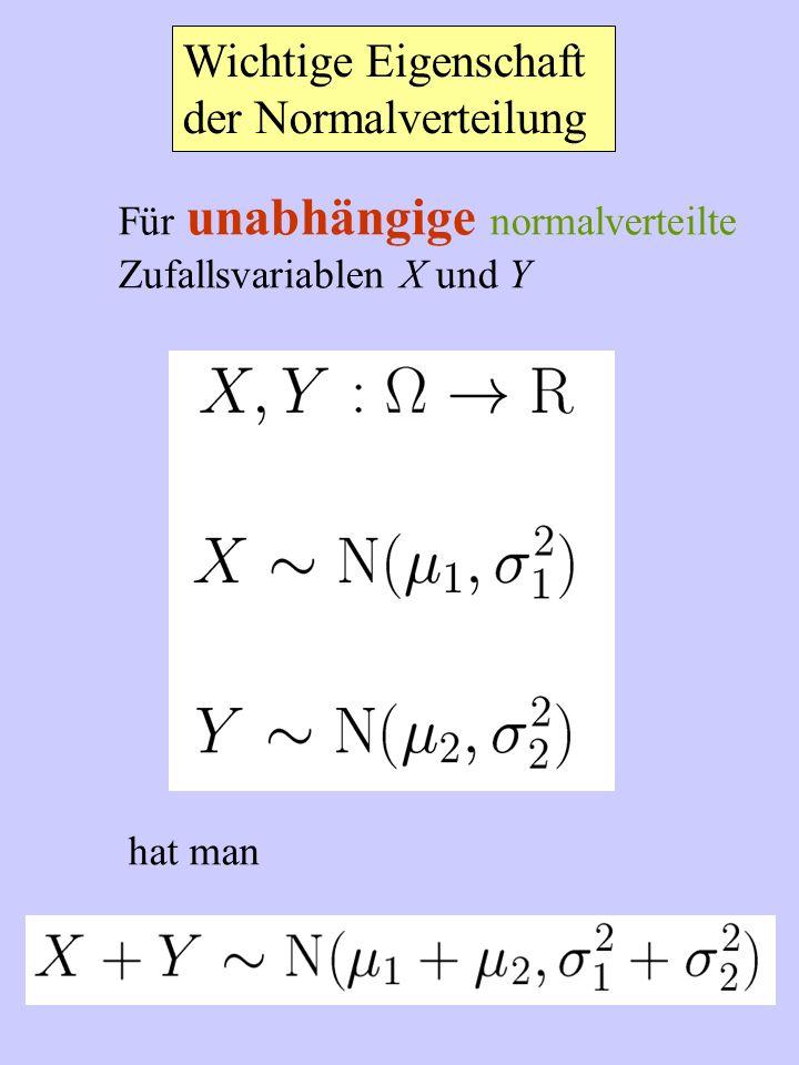 Wichtige Eigenschaft der Normalverteilung Für unabhängige normalverteilte Zufallsvariablen X und Y hat man