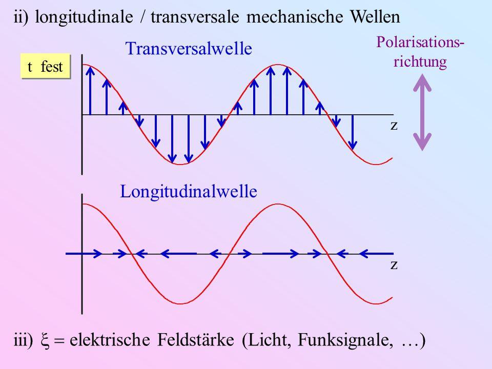 ii) longitudinale / transversale mechanische Wellen t fest z Transversalwelle Polarisations- richtung z Longitudinalwelle iii) elektrische Feldstärke (Licht, Funksignale, )