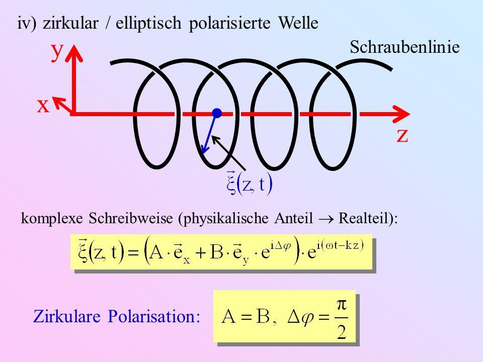 iv) zirkular / elliptisch polarisierte Welle z y x Schraubenlinie Zirkulare Polarisation: komplexe Schreibweise (physikalische Anteil Realteil):