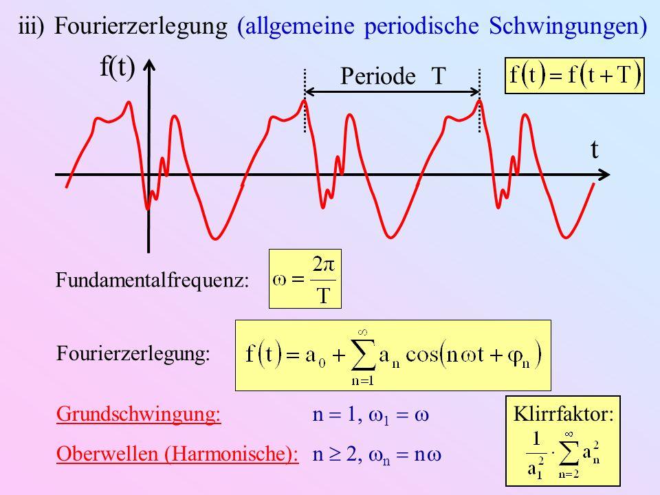 Periode T t f(t) iii) Fourierzerlegung (allgemeine periodische Schwingungen) Fundamentalfrequenz: Fourierzerlegung: Grundschwingung: n 1, 1 Oberwellen (Harmonische): n 2, n n Klirrfaktor: