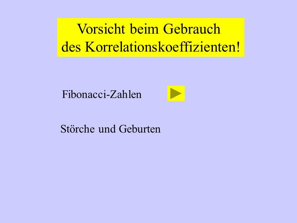 Vorsicht beim Gebrauch des Korrelationskoeffizienten! Fibonacci-Zahlen Störche und Geburten