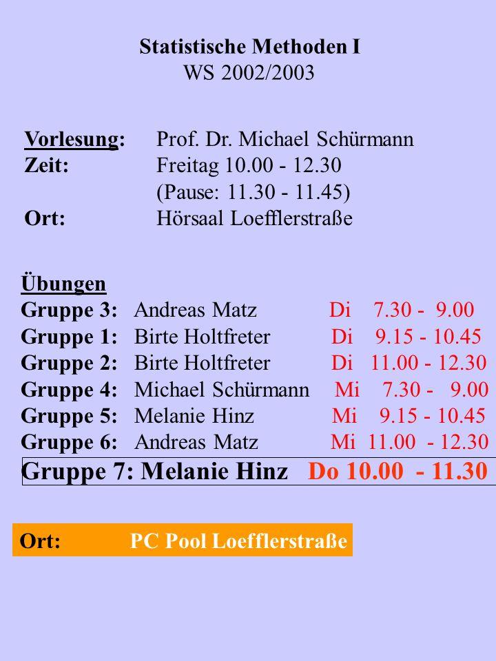Statistische Methoden I WS 2002/2003 Vorlesung:Prof. Dr. Michael Schürmann Zeit:Freitag 10.00 - 12.30 (Pause: 11.30 - 11.45) Ort:Hörsaal Loefflerstraß